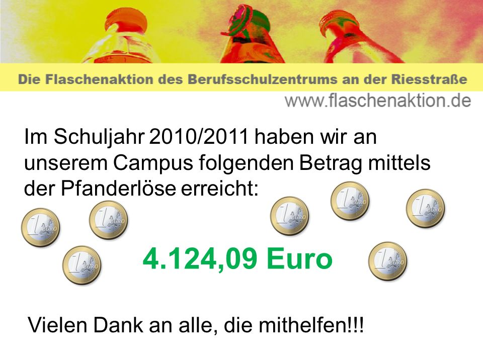 Im Schuljahr 2010/2011 haben wir an unserem Campus folgenden Betrag mittels der Pfanderlöse erreicht: