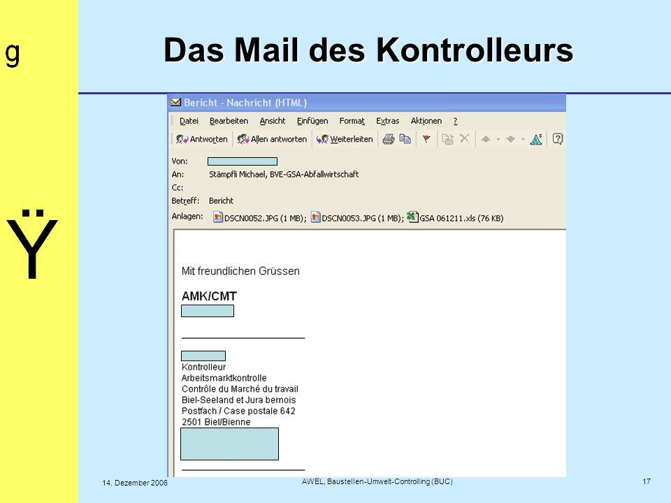 Das Mail des Kontrolleurs