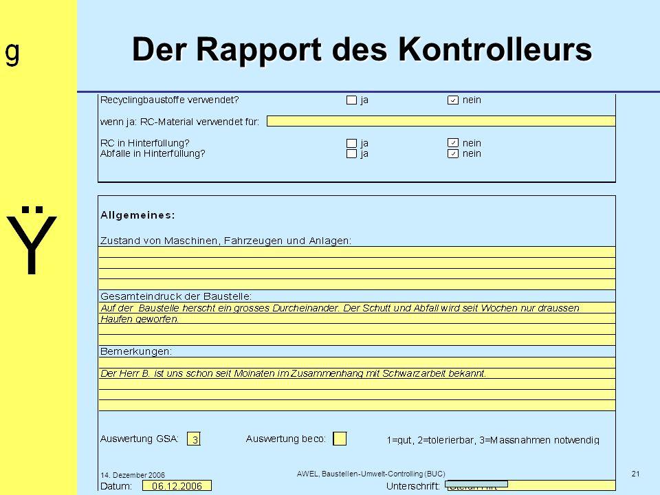 Der Rapport des Kontrolleurs