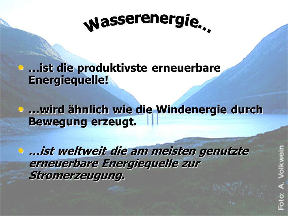 Wasserenergie… …ist die produktivste erneuerbare Energiequelle!