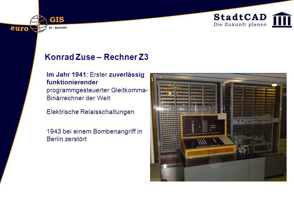 Konrad Zuse – Rechner Z3 Im Jahr 1941: Erster zuverlässig funktionierender programmgesteuerter Gleitkomma-Binärrechner der Welt.