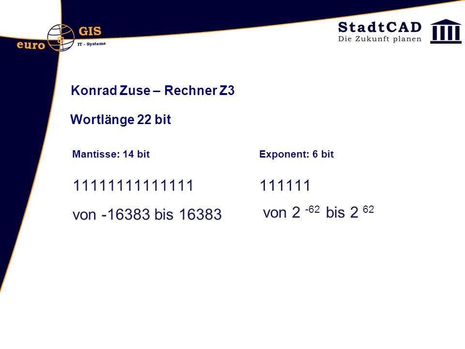Konrad Zuse – Rechner Z3 Wortlänge 22 bit. Mantisse: 14 bit. Exponent: 6 bit. 11111111111111. 111111.