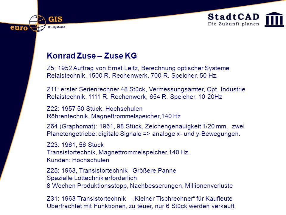 Konrad Zuse – Zuse KG Z5: 1952 Auftrag von Ernst Leitz, Berechnung optischer Systeme. Relaistechnik, 1500 R. Rechenwerk, 700 R. Speicher, 50 Hz.