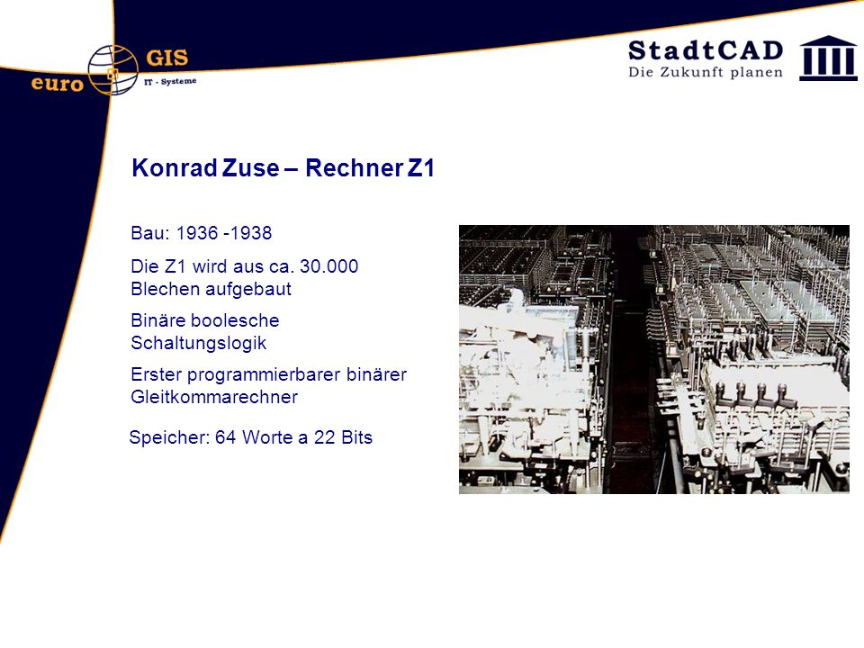 Konrad Zuse – Rechner Z1 Bau: 1936 -1938