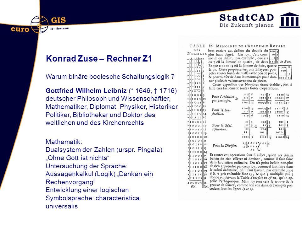 Konrad Zuse – Rechner Z1 Warum binäre boolesche Schaltungslogik