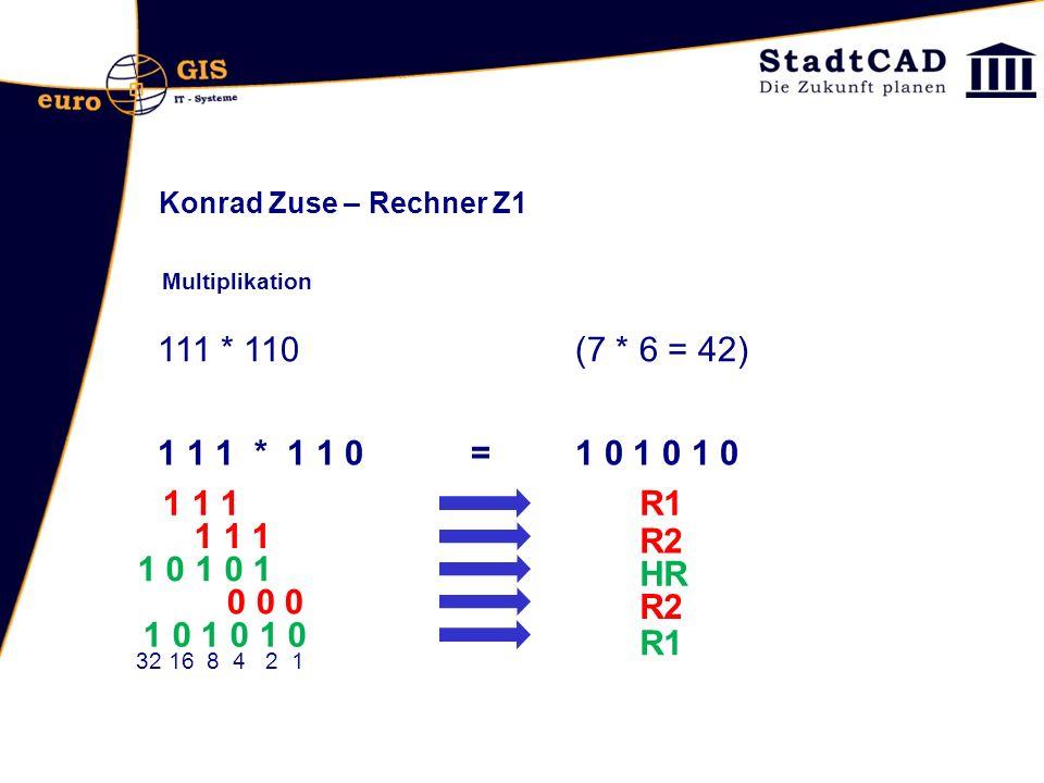Konrad Zuse – Rechner Z1 Multiplikation. 111 * 110 (7 * 6 = 42) 1 1 1 * 1 1 0 = 1 0 1 0 1 0.