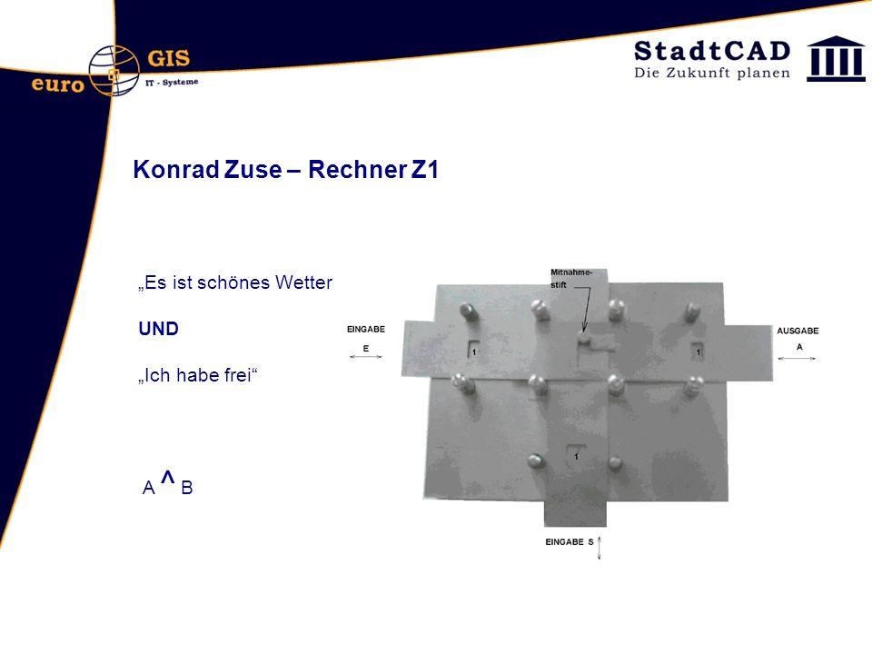 """Konrad Zuse – Rechner Z1 """"Es ist schönes Wetter UND """"Ich habe frei"""