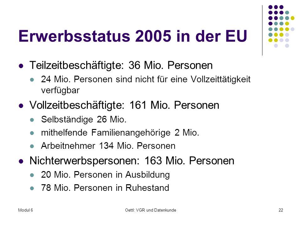 Erwerbsstatus 2005 in der EU