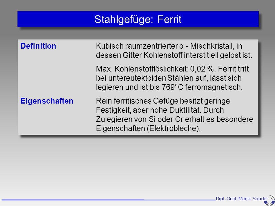 Stahlgefüge: Ferrit Definition Kubisch raumzentrierter α - Mischkristall, in dessen Gitter Kohlenstoff interstitiell gelöst ist.