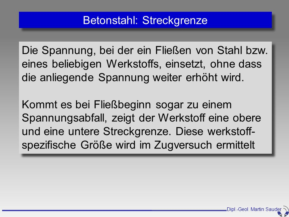 Betonstahl: Streckgrenze