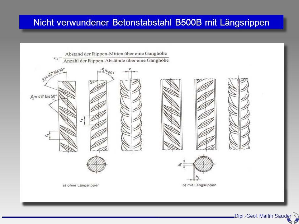 Nicht verwundener Betonstabstahl B500B mit Längsrippen