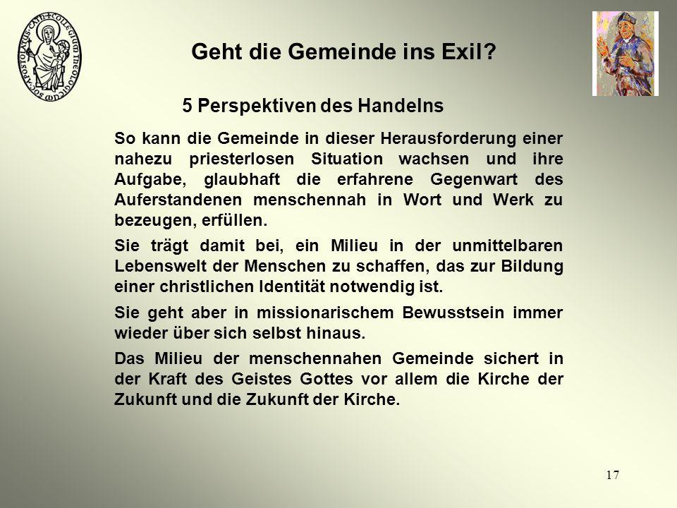 Geht die Gemeinde ins Exil 5 Perspektiven des Handelns