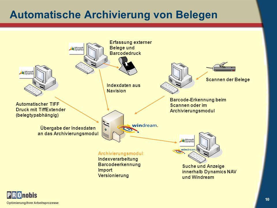 Automatische Archivierung von Belegen