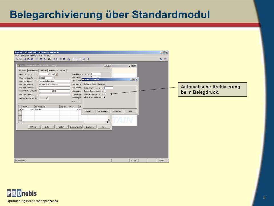 Belegarchivierung über Standardmodul