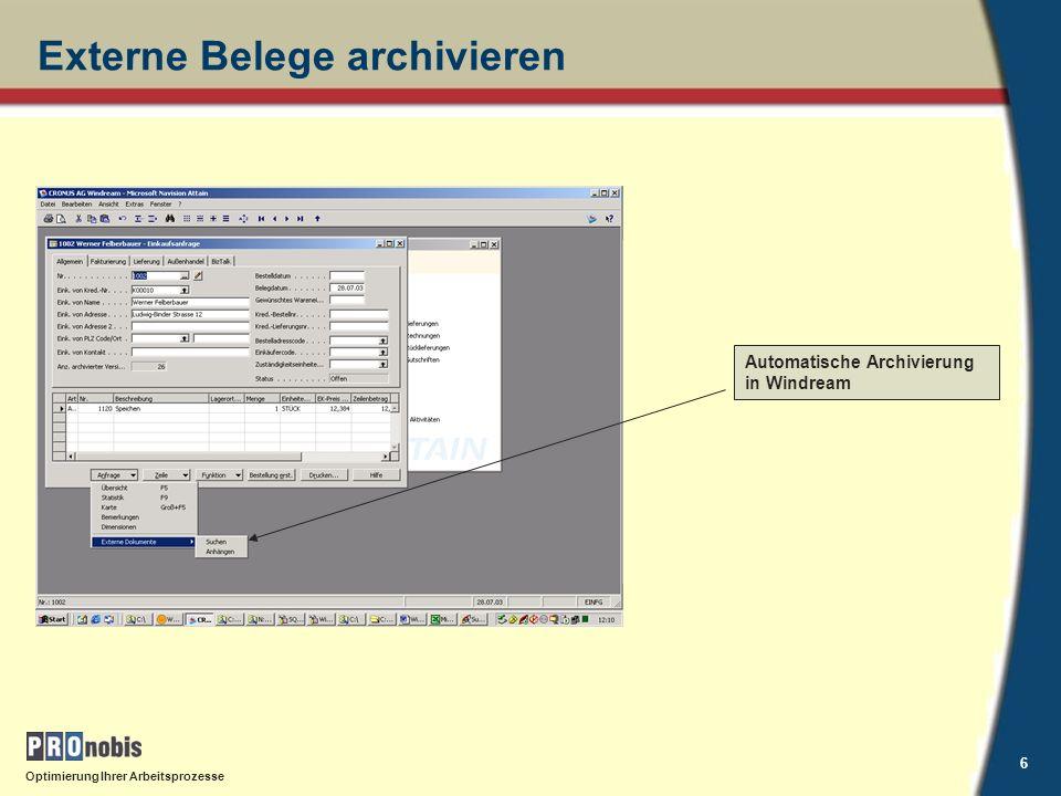 Externe Belege archivieren