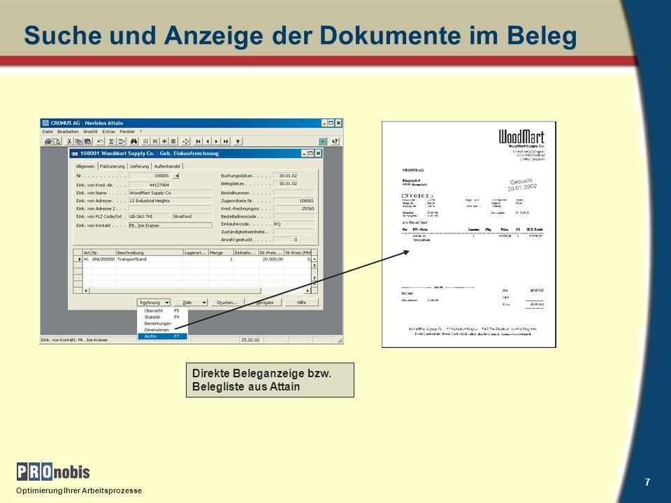 Suche und Anzeige der Dokumente im Beleg