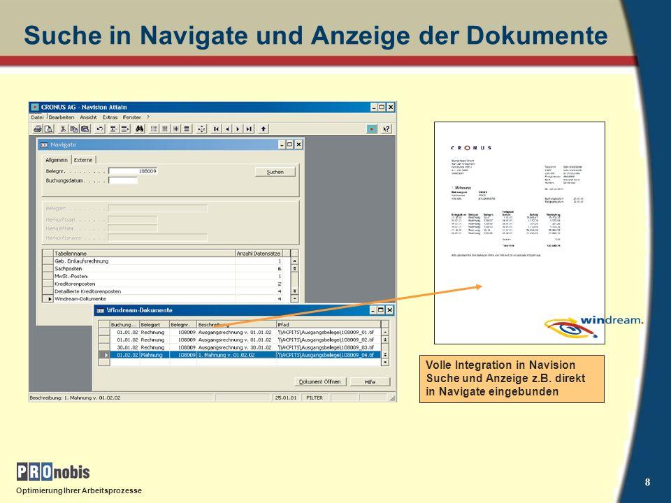 Suche in Navigate und Anzeige der Dokumente