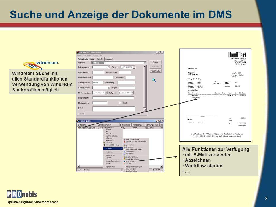 Suche und Anzeige der Dokumente im DMS