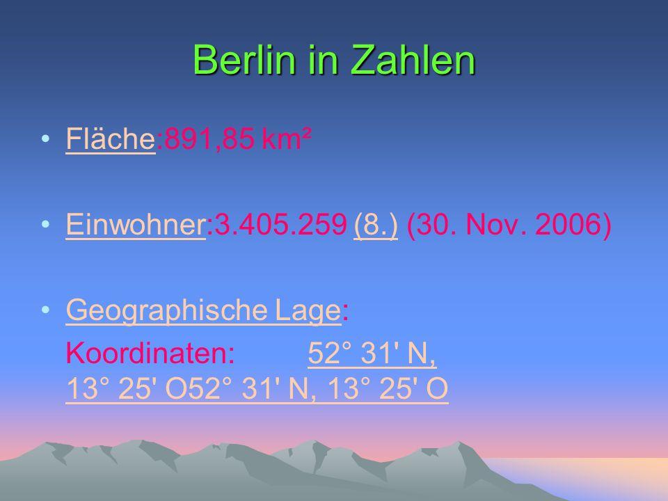 Berlin in Zahlen Fläche:891,85 km²