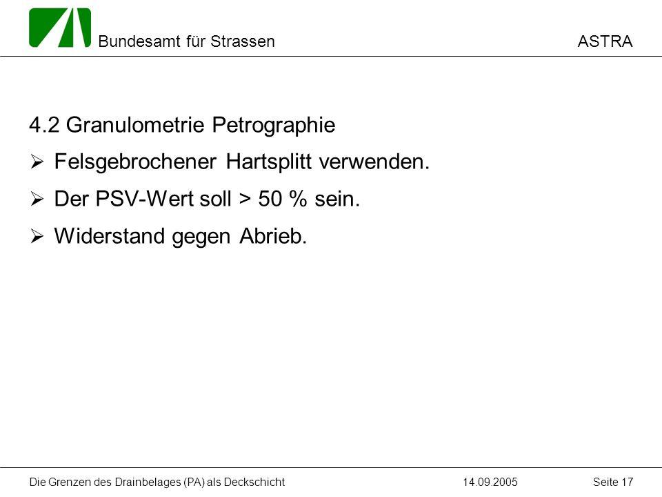 4.2 Granulometrie Petrographie Felsgebrochener Hartsplitt verwenden.