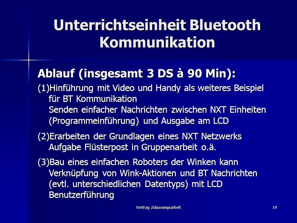 Unterrichtseinheit Bluetooth Kommunikation