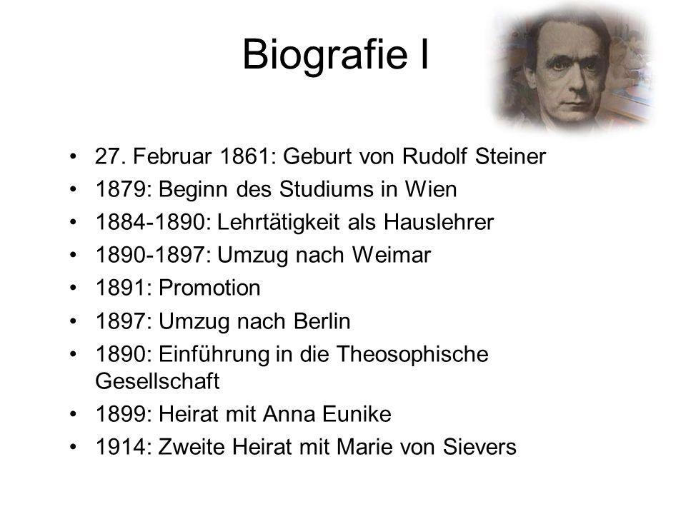 Biografie I 27. Februar 1861: Geburt von Rudolf Steiner