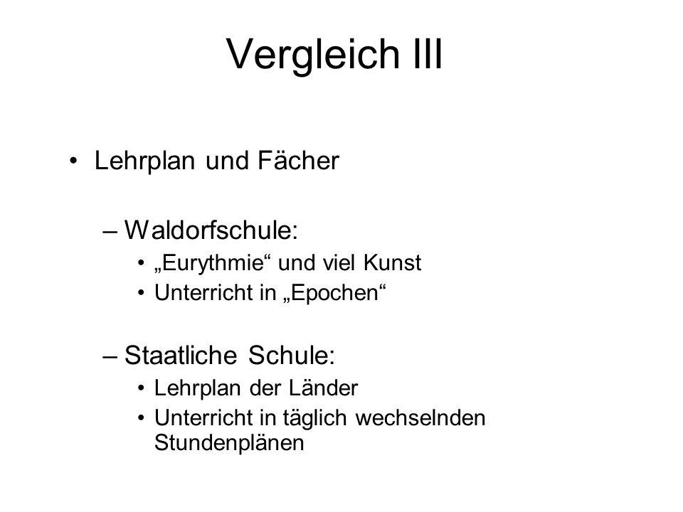 Vergleich III Lehrplan und Fächer Waldorfschule: Staatliche Schule: