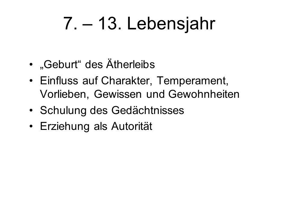 """7. – 13. Lebensjahr """"Geburt des Ätherleibs"""
