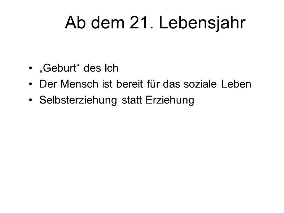 """Ab dem 21. Lebensjahr """"Geburt des Ich"""