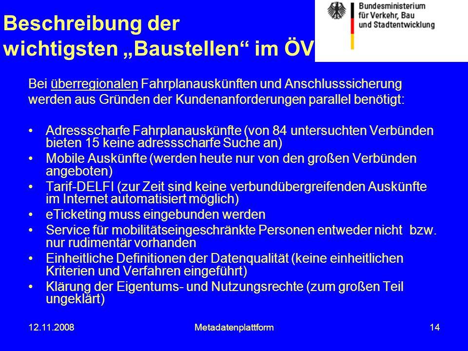 """Beschreibung der wichtigsten """"Baustellen im ÖV"""