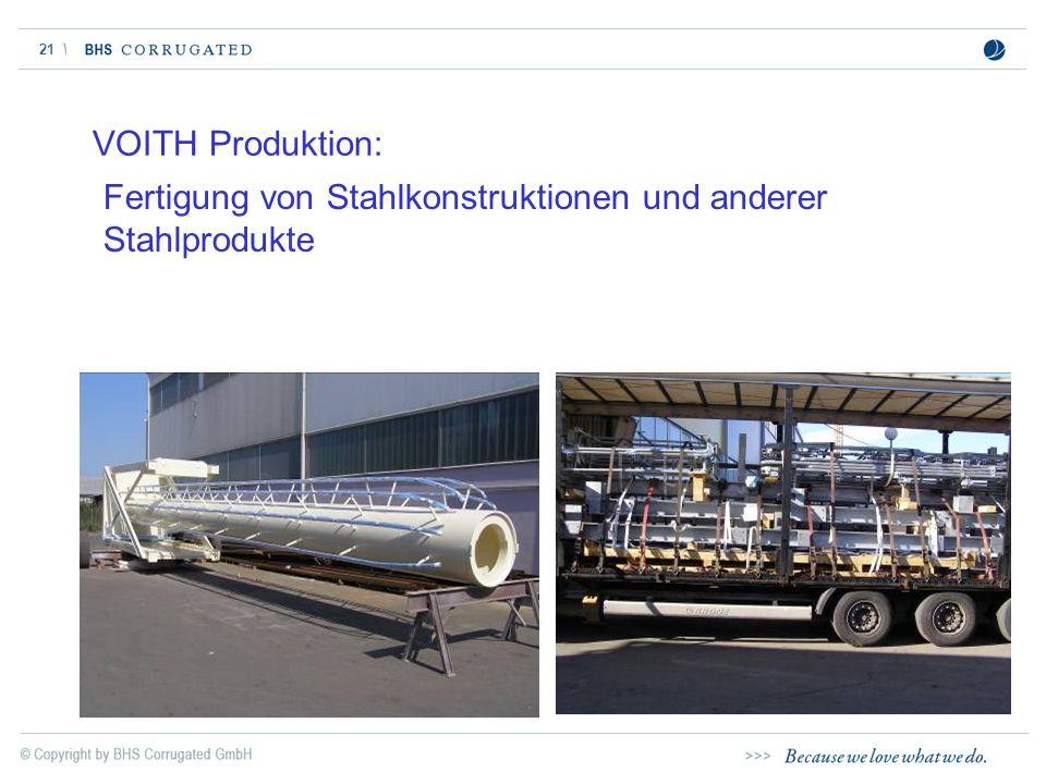 VOITH Produktion: Fertigung von Stahlkonstruktionen und anderer Stahlprodukte