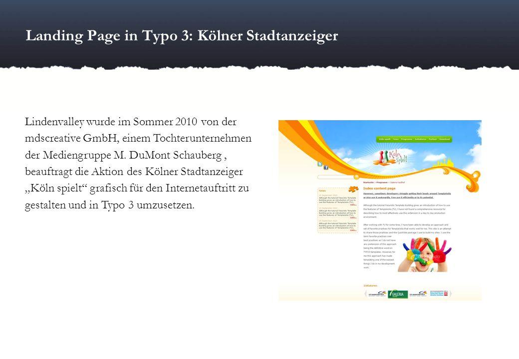Landing Page in Typo 3: Kölner Stadtanzeiger