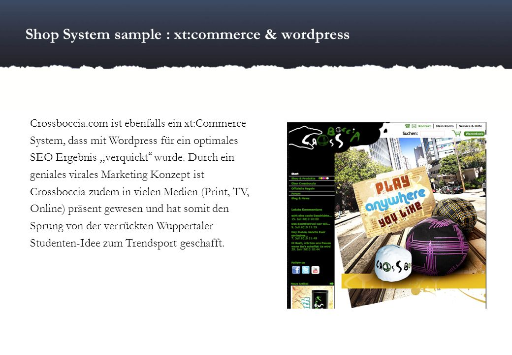 Shop System sample : xt:commerce & wordpress