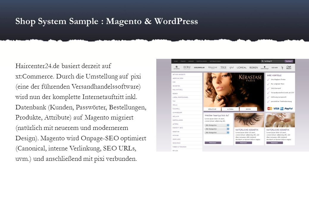 Shop System Sample : Magento & WordPress