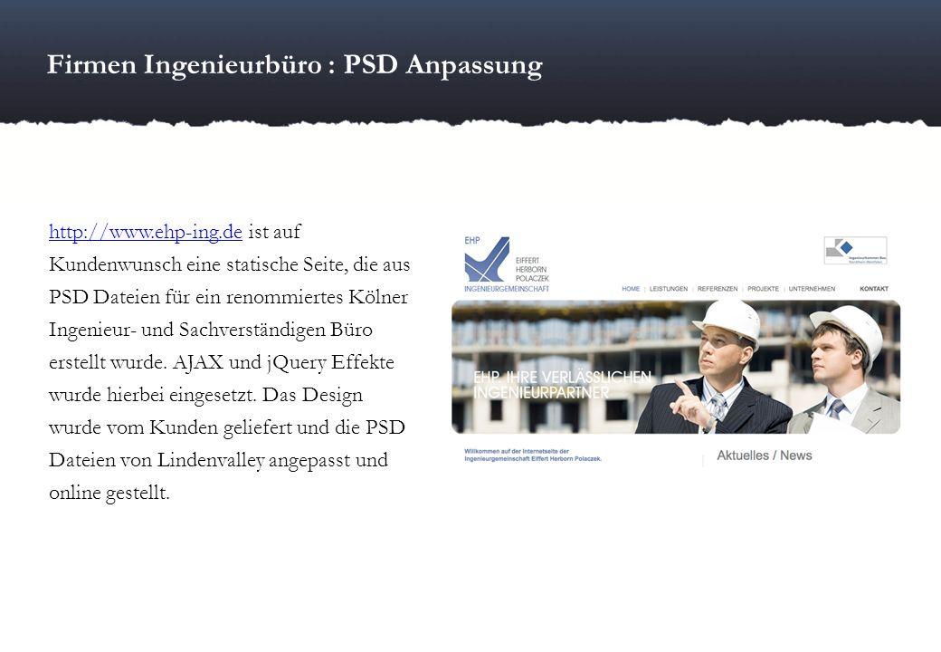 Firmen Ingenieurbüro : PSD Anpassung