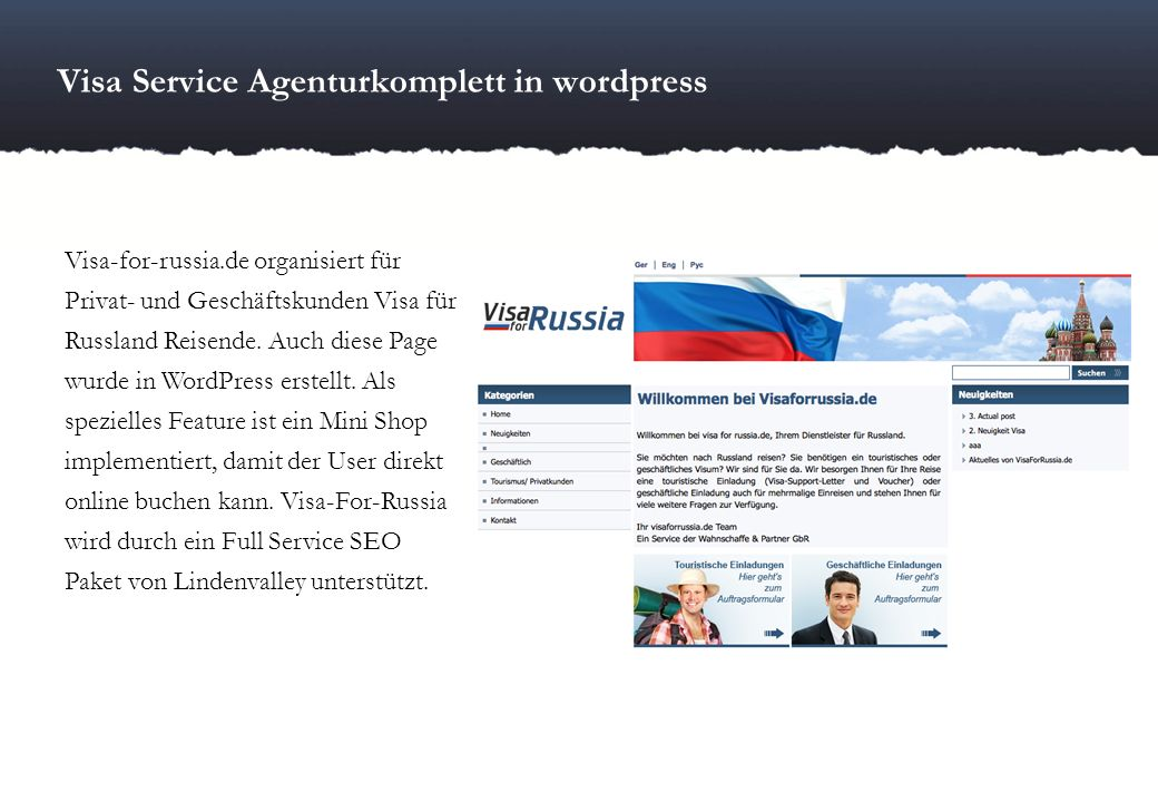 Visa Service Agenturkomplett in wordpress