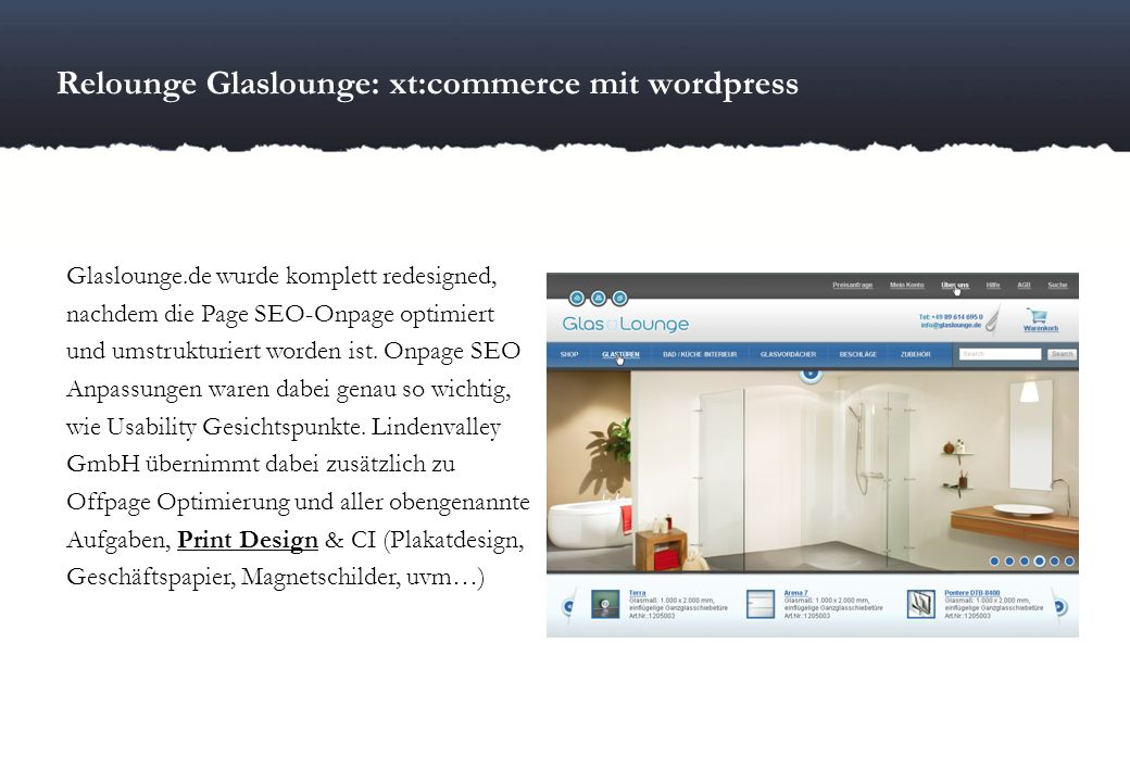 Relounge Glaslounge: xt:commerce mit wordpress