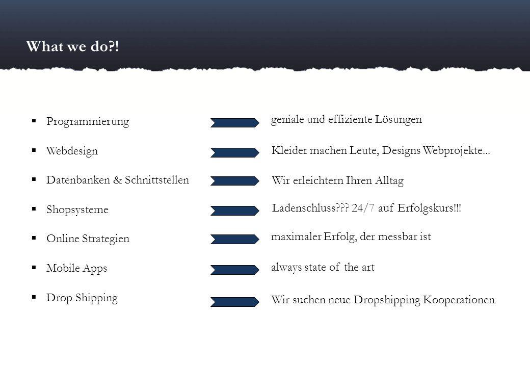 What we do ! geniale und effiziente Lösungen Programmierung Webdesign