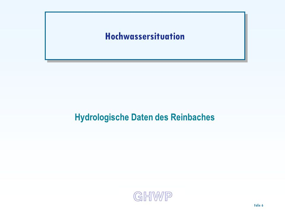 Hydrologische Daten des Reinbaches