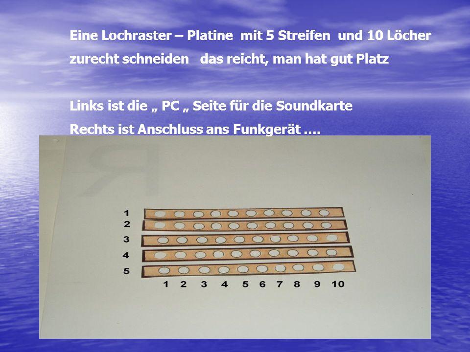 Eine Lochraster – Platine mit 5 Streifen und 10 Löcher