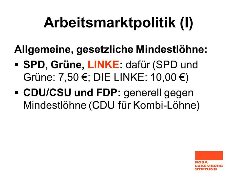Arbeitsmarktpolitik (I)