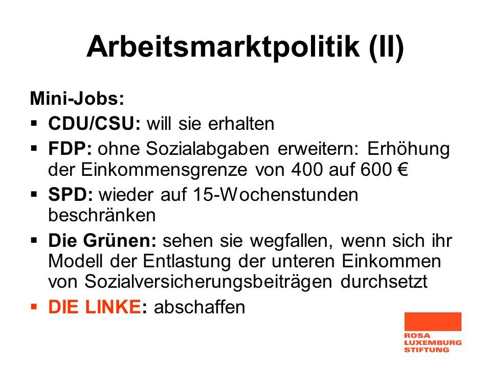 Arbeitsmarktpolitik (II)