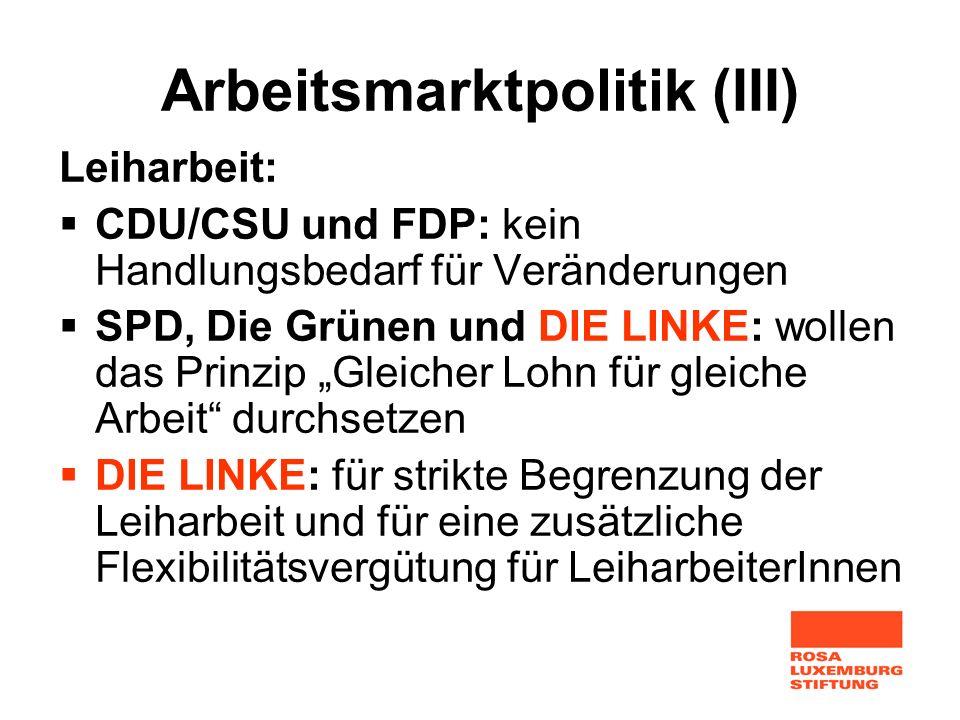 Arbeitsmarktpolitik (III)
