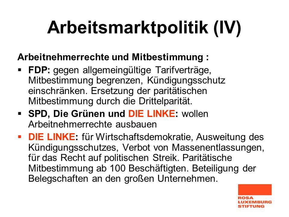Arbeitsmarktpolitik (IV)