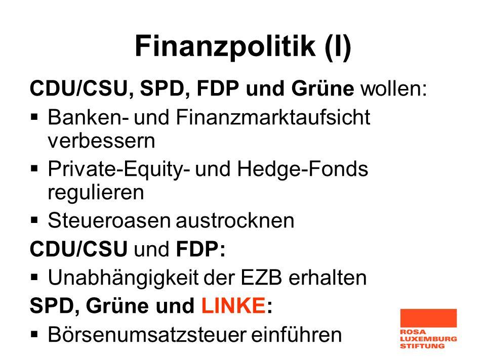 Finanzpolitik (I) CDU/CSU, SPD, FDP und Grüne wollen: