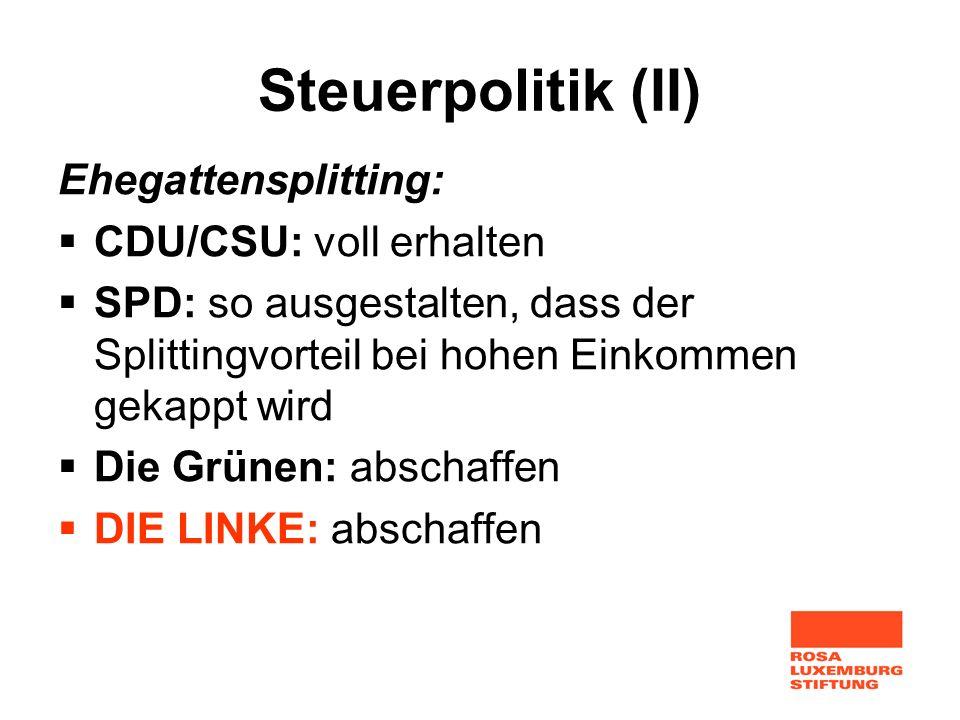 Steuerpolitik (II) Ehegattensplitting: CDU/CSU: voll erhalten