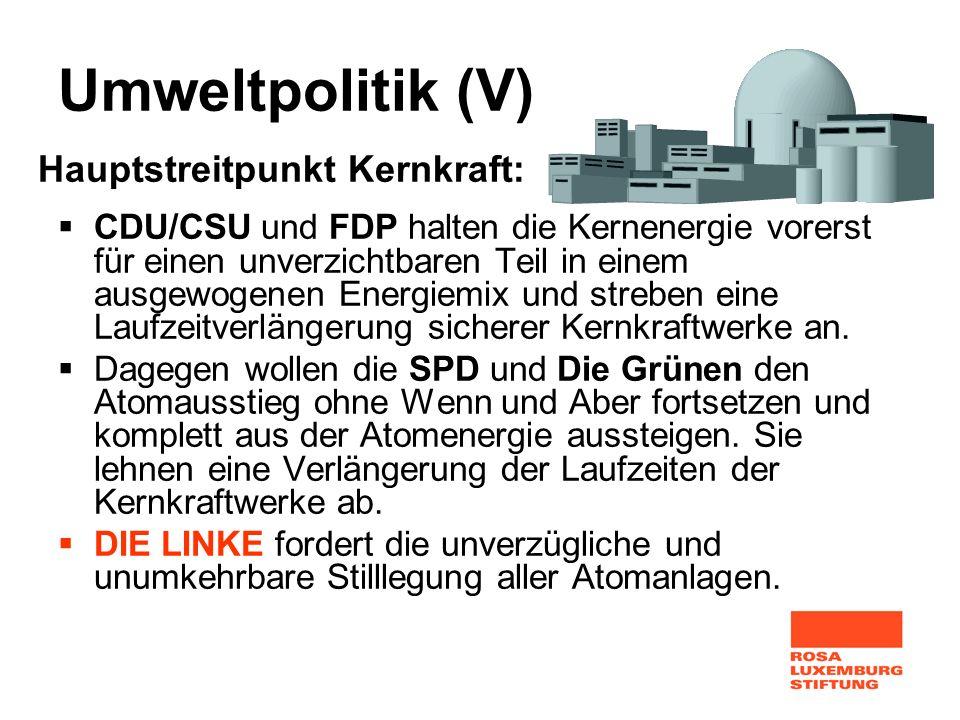 Umweltpolitik (V) Hauptstreitpunkt Kernkraft: