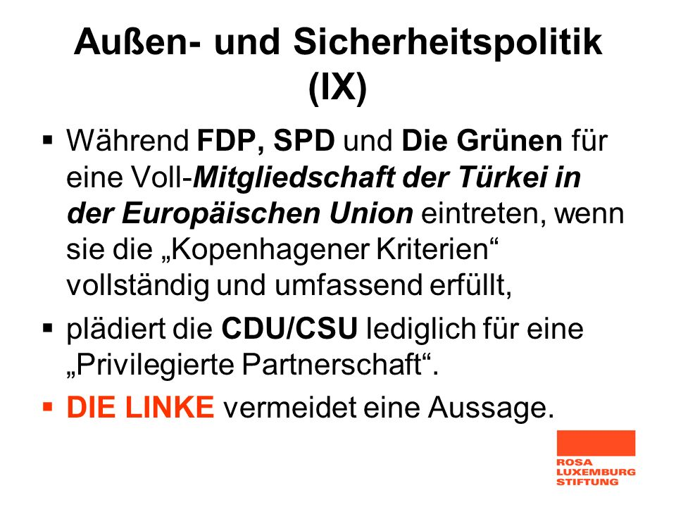 Außen- und Sicherheitspolitik (IX)