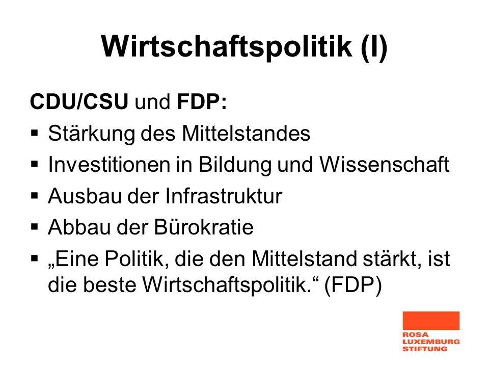 Wirtschaftspolitik (I)