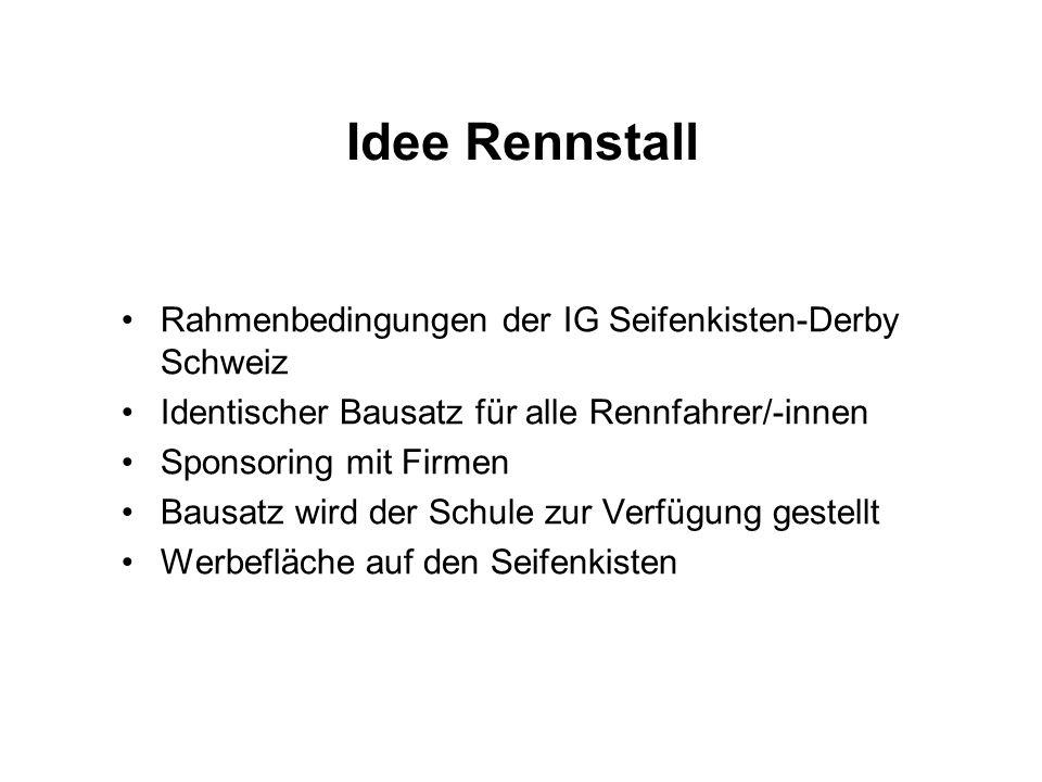 Idee Rennstall Rahmenbedingungen der IG Seifenkisten-Derby Schweiz
